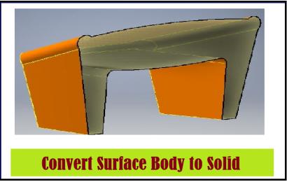 تبدیل بدنه سطح (Surface Body) به بدنه صلب (Solid Body)